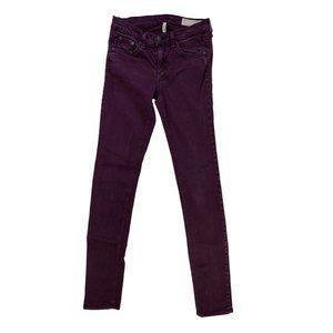 Rag & Bone The Skinny Jeans in Distressed Wine 25